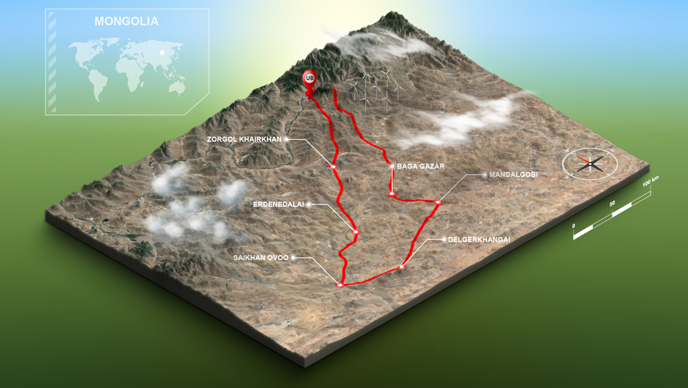 Middle Gobi Motorcycle Trail Map